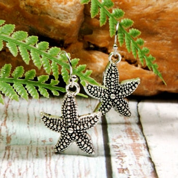 Boho Earrings, Dangle Earrings, Starfish in Black Diamond