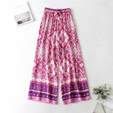 Boho 2 Piece Set, Matching Crop Top and Palazzo Pant, Wild Boho Square Purple