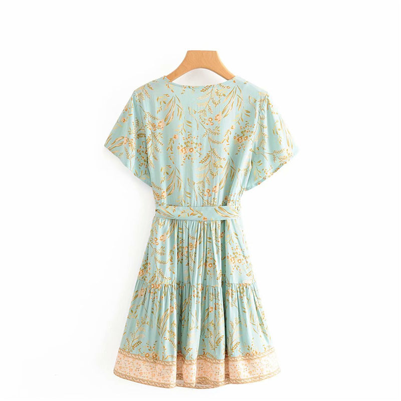 Mini Dress, Boho Dress, Sundress, Ann Lace in Green