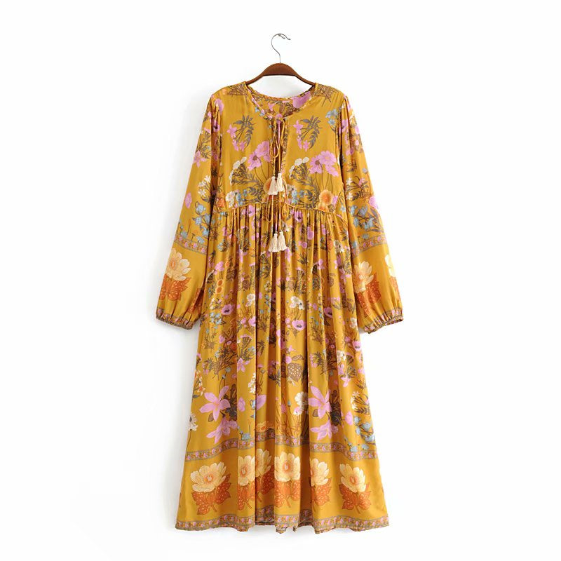 Boho Dress, Gown, Bloom Garden in Pink and Mustard