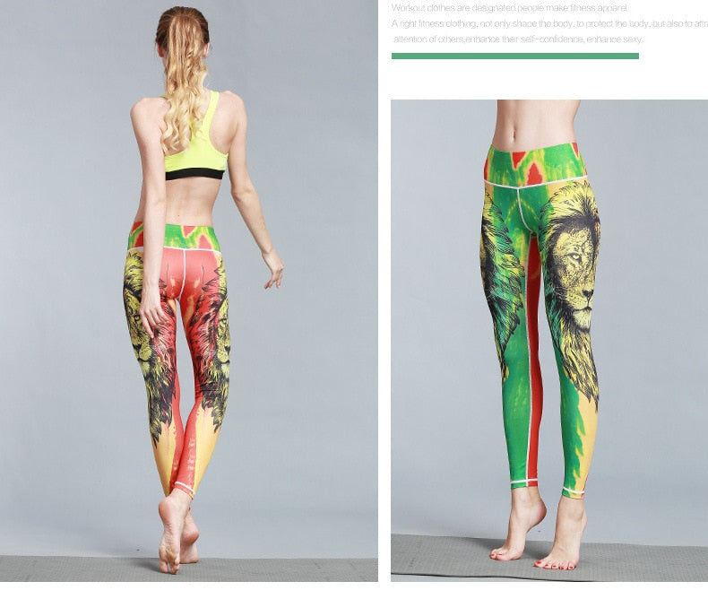 Boho Yoga Legging, Printed Tight, Green Reggae Lion