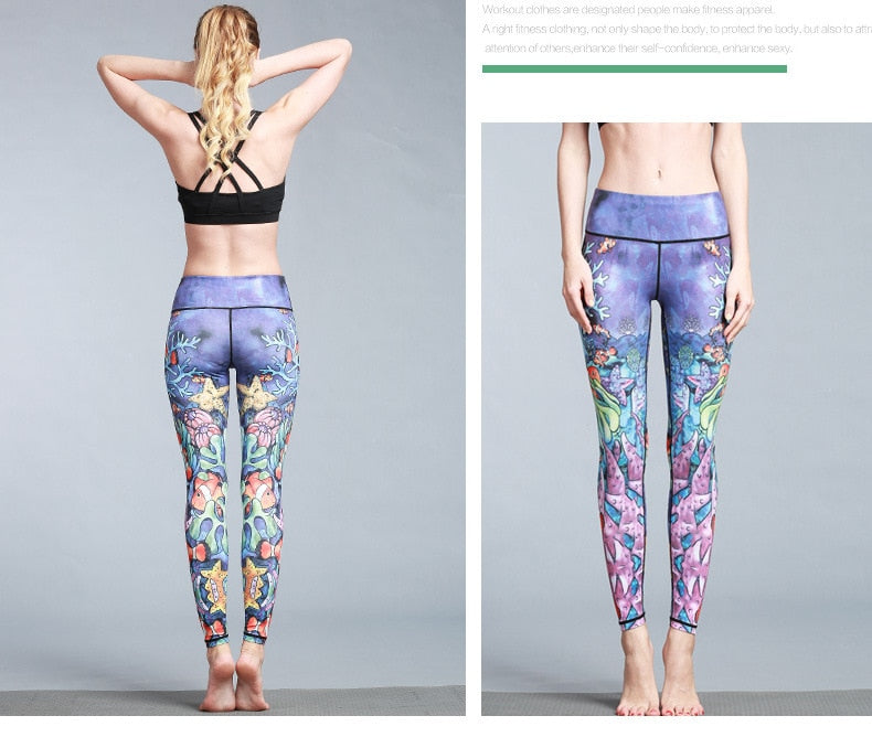 Boho Yoga Legging, Printed Tight, Blue Sea Nemo