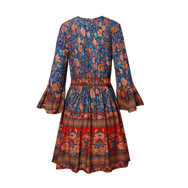 Mini Dress, Boho Dress, Asiatic, Ginger Navy and Blue Wild Rose