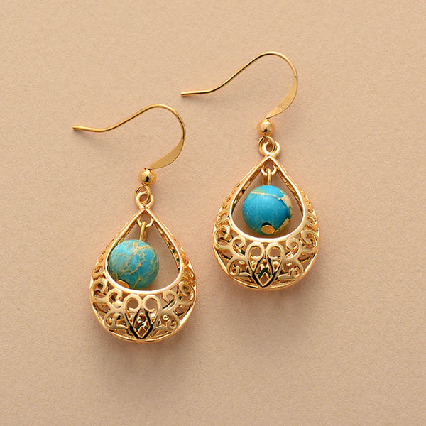 Boho Earrings, Dangle Earrings, Vintage Indian Gold Blue