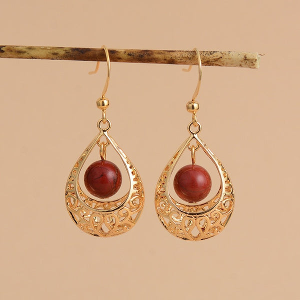 Boho Earrings, Dangle Earrings, Vintage Indian Gold Red