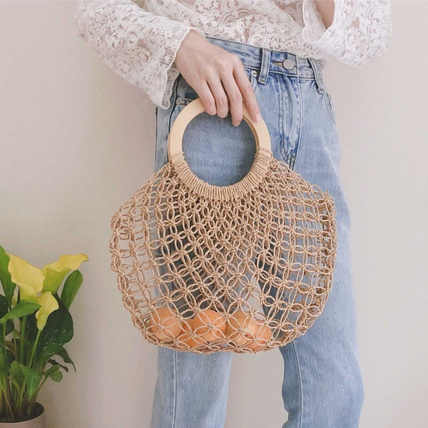 Boho Bag, Woven  Straw Rope Tote Bag, Lash