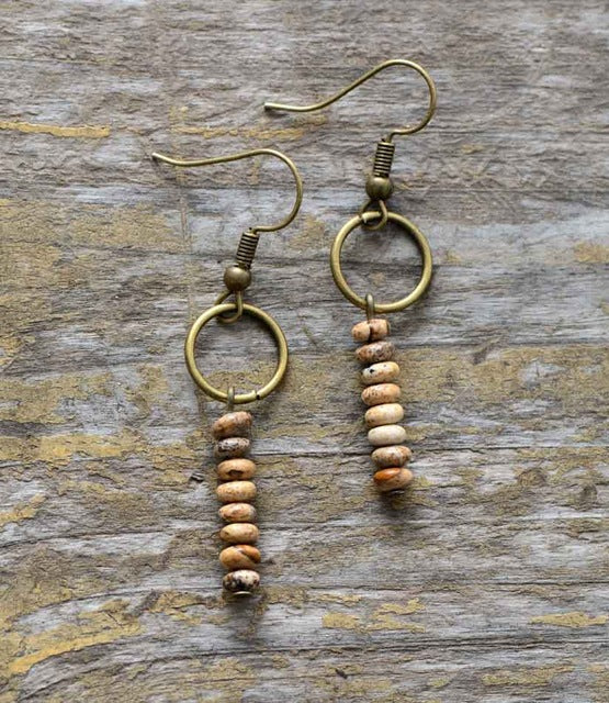 Boho Earrings, Dangle Earrings, Vintage Natural Stone