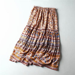 Boho Skirt, Midi Skirt, Camalia in Coral, Blue and Midnight