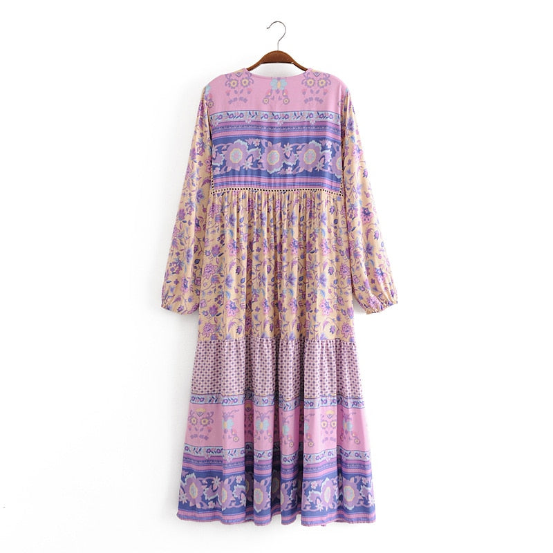 Boho Dress, Gown, Lunaria in Pink Purple