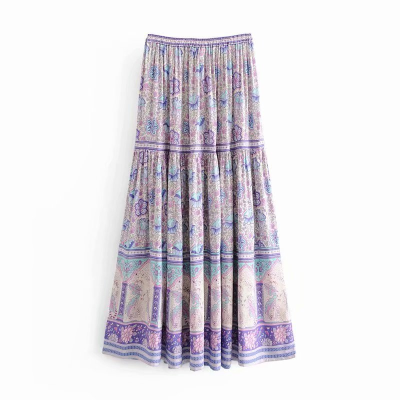 Boho Skirt, Maxi Skirt, Wild Flower in Purple
