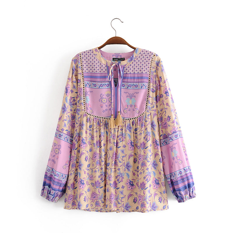 Boho Blouse, Lunaria in Iris Purple