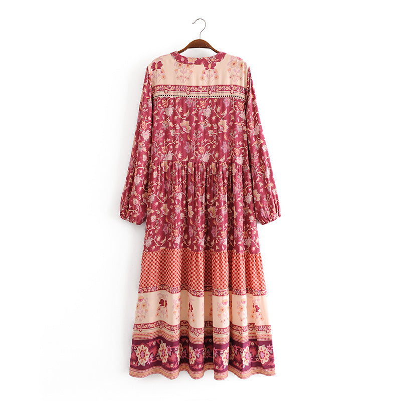 Boho Dress, Gown, Lunaria in Red Wine