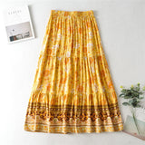 Boho Skirt, Mixi Skirt, Vacation, in Yellow Sand