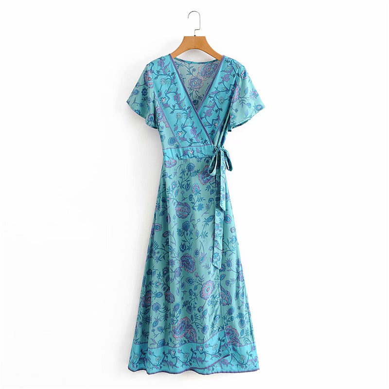 Miaxi Dress, Boho Dress, Wrap Dess, Blue Star