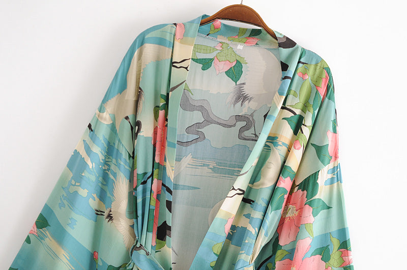 Boho Robe, Kimono Robe Short, Lily Lotus in Green