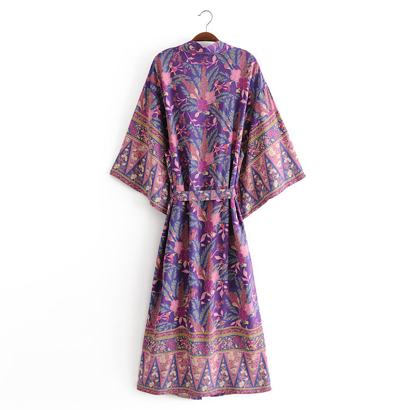 Boho Robe, Kimono Robe, Savanna in Purple