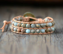 Load image into Gallery viewer, Boho Bracelet, Layers Leather Wrap Bracelet, 6 mm Jasper Stones