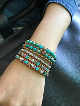 Boho Bracelet, Layers Leather Wrap Bracelet, 6 mm Jasper Stones