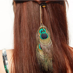 Boho Feather Clip, Peacock Feather