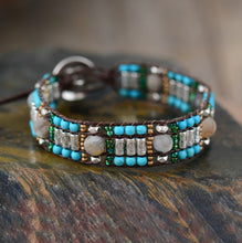 Load image into Gallery viewer, Boho Bracelet, Leather Wrap Bracelet, Silver Stone