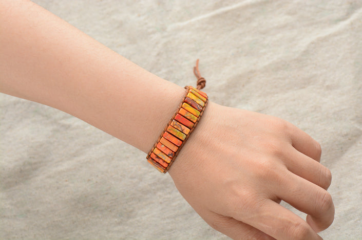 Boho Bracelet, Leather  Wrap Bracelet, Tube Natural Stones, 4 Colors