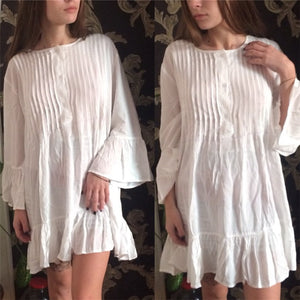 Beach Dress, Cover Up, White Ruffle Lucy