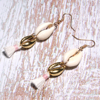 Boho Earrings, Dangle Earrings, Sea Shell