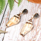 Boho Earrings, Dangle Earrings, Natural Shell Cowrie with Black Diamond