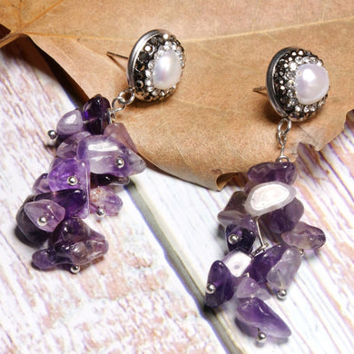Boho Earrings, Dangle Earrings, Lavender
