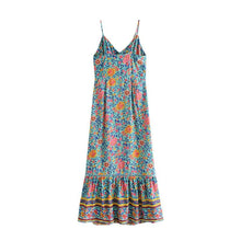 Load image into Gallery viewer, Maxi Dress, Boho Dress, Strappy, Folk in Blue