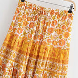 Boho Skirt, Midi Skirt, Prickly Pear in Apricot Yellow