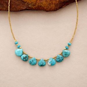 Boho Necklace, Choker Necklace, Turquoise, Natural Stone, Seeds