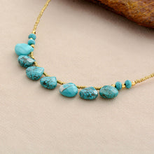 Load image into Gallery viewer, Boho Necklace, Choker Necklace, Turquoise, Natural Stone, Seeds