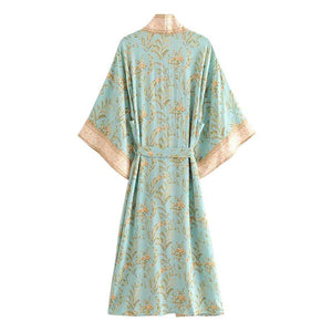 Boho Robe, Kimono Robe, Beach Cover Up, Maisie in Green