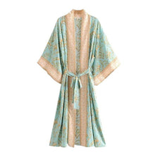 Load image into Gallery viewer, Boho Robe, Kimono Robe, Beach Cover Up, Maisie in Green