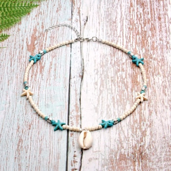 Boho Necklace, Hippie Shell & Starfish