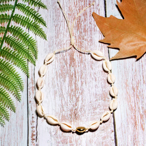 Boho Necklace, Puka Shell, White Ocean