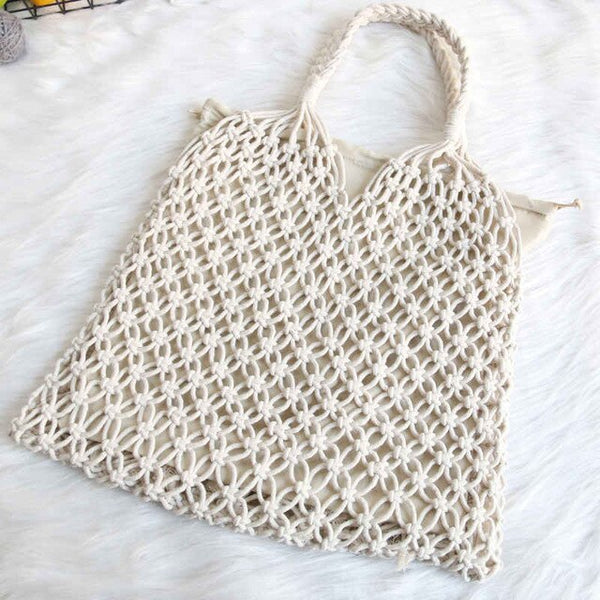 Boho Bag, Woven Mesh Rope Tote Bag (2 Colors)