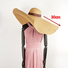 Load image into Gallery viewer, Boho Hat, Sun Hat, Beach Hat, Extra Large Wide Brim, Straw Hat, Ribbon, 3 colors (Soft, 30 cm)
