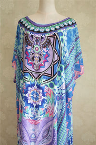 Maxi  Boho Dress, Beach Dress, Kaftan, Tribal in Blue