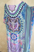 Load image into Gallery viewer, Maxi  Boho Dress, Beach Dress, Kaftan, Tribal in Blue