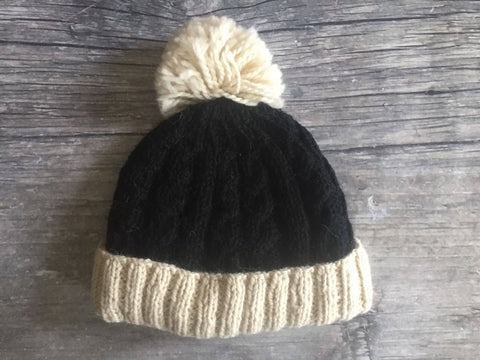 HW Cable Two Tone Pom Pom Hats