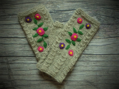 Embroidered Flower Garden Fingerless Gloves
