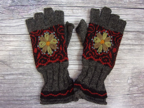 Fingerless Gloves - MW Lined Wintertide Oasis