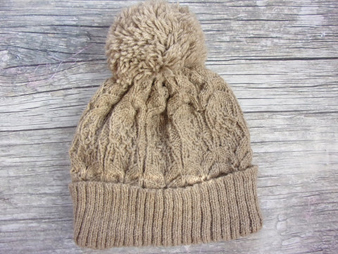LW Lined Cable Pom Pom Hat