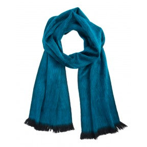 Brushed Alpaca Scarf - Midnight Turquoise