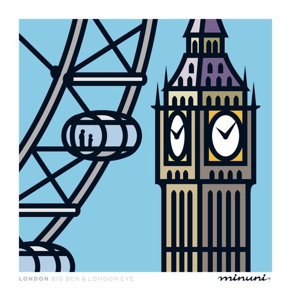 Art print inspired in The London Eye and Big Ben