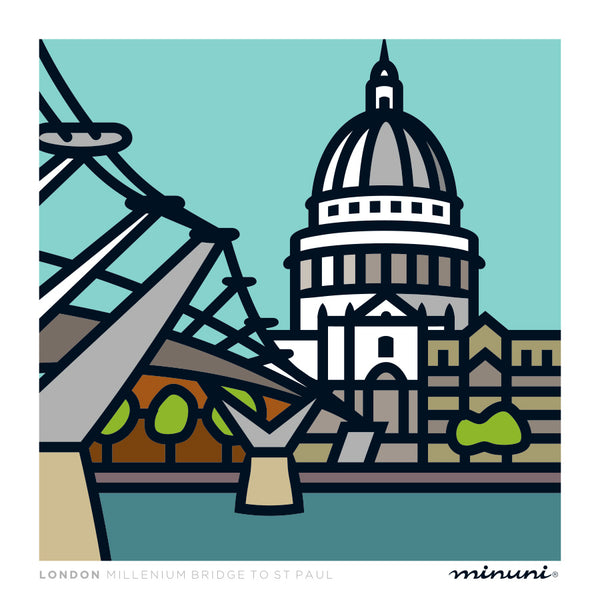 Art print inspired in Millenium Bridge and St. Paul
