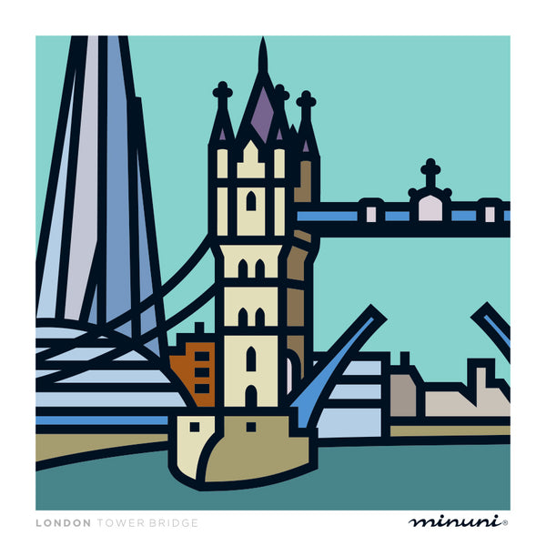 Art print inspired in the Tower Bridge and The Shard
