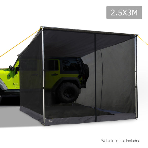 Weisshorn 2.5m x 3m Side Roof Car Awning with Mesh Screen - Grey - Mobile Solar Pro